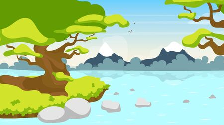 Forest river flat vector illustration. Lake in woods. Tropical water body. Panoramic scene with trees on shore. Riverside, riverbrook. Exotic amazon stream. Watercourse cartoon background