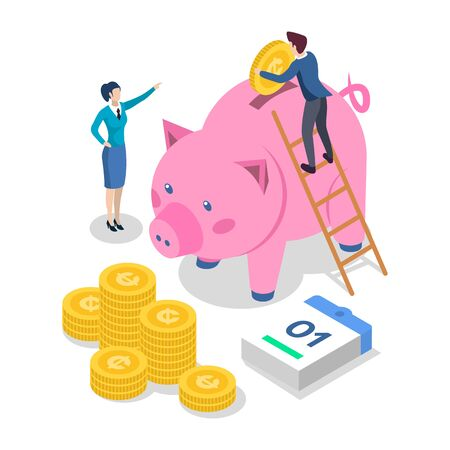 Saving money isometric color vector illustration. Bank deposit. Banking. People putting coins into piggy bank. Economy. Accounting and audit. 3d concept isolated on white background Ilustracja