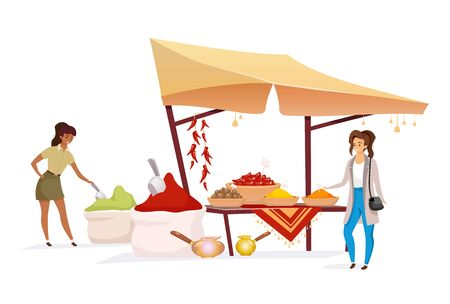 Woman choosing spices flat color vector faceless character. Tourist buying, doing shopping at eastern marketplace. Indian bazaar awning with seasoning isolated cartoon illustration on white background