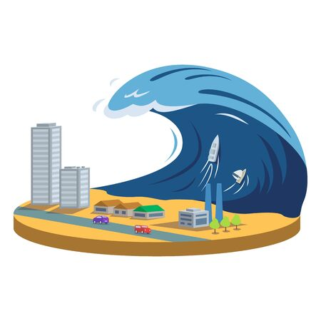 Typhoon cartoon vector illustration. Tsunami. High wave covering city. Tropical cyclone, storm. Catastrophe, cataclysm, calamity. Destructive phenomenon. Flat color natural disaster isolated on white Standard-Bild - 138831919