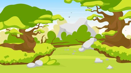 Trail blazing vector illustration. Road in fantasy forest. Way through mystical jungle. Panoramic landscape with path through woods. Route to explore exotic wild land. Rainforest cartoon background