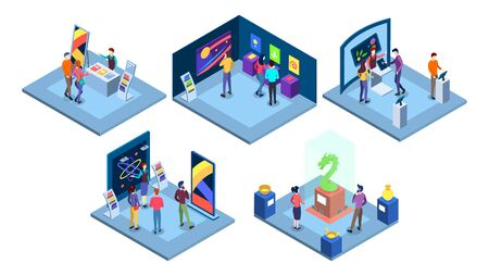 Exhibitions isometric vector illustrations set. Art gallery with abstract paintings, science fair isolated 3d concepts. Historical and technological museums exhibits. Visitors at exposition characters 向量圖像