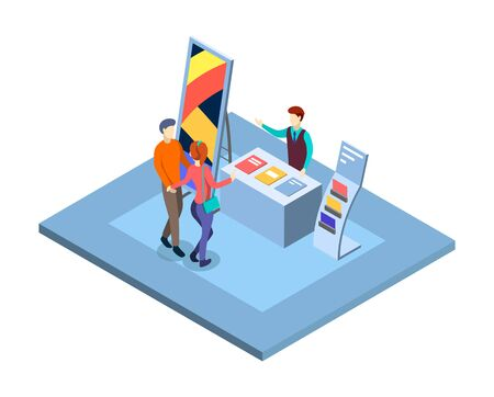Trade show isometric vector illustration. Visitors at promotional expo stand with salesman, manager characters. Trade exhibition isolated 3d interior. Commercial tradeshow presentation