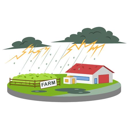 Thunderstorm at farm cartoon vector illustration. Thunder and lightning. Heavy rain and hail. Extreme weather conditions. Calamity. Flat color natural disaster isolated on white background
