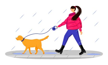 Woman in coat flat color vector faceless character. Caucasian lady walking dog in rain. Rainy day. Wet weather. Stylish female in boots isolated cartoon illustration on white background Illustration