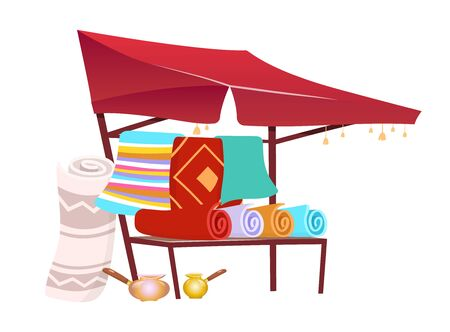 Souk trade tent with handmade carpets cartoon vector illustration. Eastern marketplace awning, canopy with souvenirs, rugs flat color object. Asian fair marquee isolated on white background