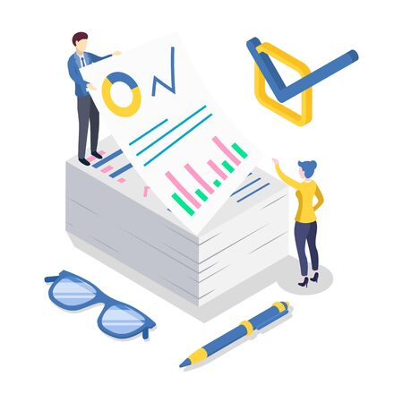 Business analytics isometric color vector illustration. Accounting and financial audit. Data analysis and statistics. Strategic management. Paperwork. Corporate strategy. 3d concept isolated on white