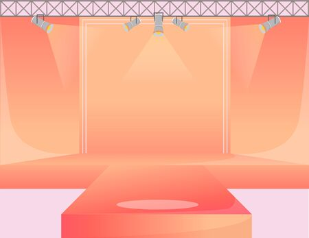 Orange runway platform flat color vector illustration. Empty podium stage. Catwalk with spotlights. Fashion week demonstration area. Presentation of new collection. Fashion shows background