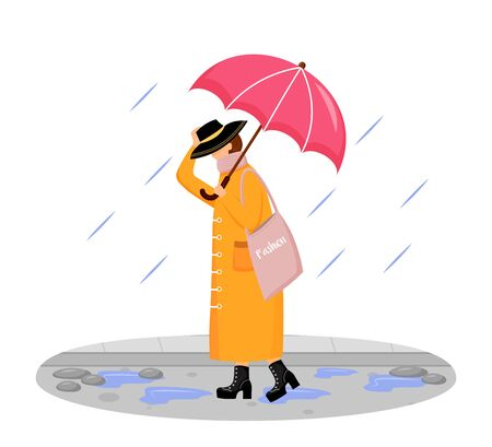 Woman in raincoat flat color vector faceless character. Walking caucasian lady in hat. Rainy day. Fashionable madam on heels. Female with umbrella isolated cartoon illustration on white background 矢量图像