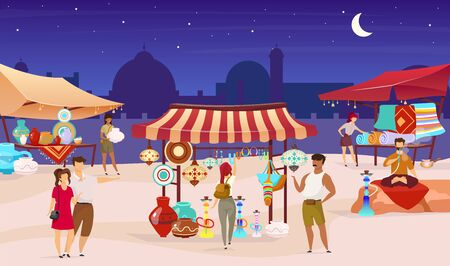 Tourists at night turkish bazaar flat color vector illustration. Arabic street market. Trade awnings with carpets. Travelers buying souvenirs faceless cartoon characters with mosque on background