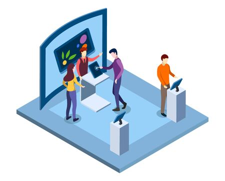 Electronics tradeshow isometric vector illustration. Salesman, promoter advertising devices, visitors testing gadgets characters. Technological museum, modern trade exhibition 3d interior 일러스트