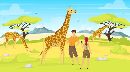 African expedition flat vector illustration. Giraffes in savannah. Woman and man tourist observe south creatures. Green savanna field with trees. Animals and people cartoon characters. ZIP file contains: EPS, JPG. If you are interested in custom design or want to make some adjustments to purchase the product, don't hesitate to contact us! bsd@bsdartfactory.com Illustration