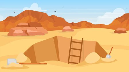 Excavation flat vector illustration. Archaeological site, search for artifacts. Digging with shovels. Egyptian desert exploration. Miner hole in Africa. Expedition cartoon background. ZIP file contains: EPS, JPG. If you are interested in custom design or want to make some adjustments to purchase the product, don't hesitate to contact us! bsd@bsdartfactory.com Illustration