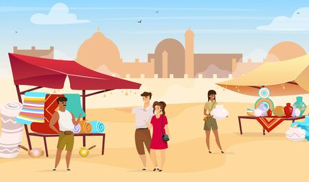 Tourists visiting egyptian bazaar flat color vector illustration. Arabic street market. Travelers buying carpets and handmade pottery faceless cartoon characters with mosque on background.