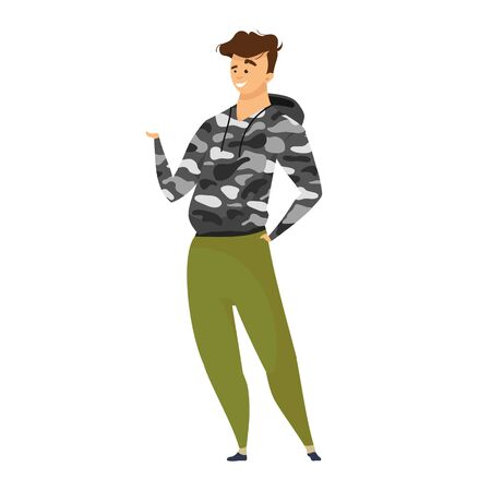 Explorer flat color vector illustration. Adventurer in survival style clothes. Male tourist in camouflage garment. Active lifestyle cloth. Expeditioner isolated cartoon character on white background. ZIP file contains: EPS, JPG. If you are interested in custom design or want to make some adjustments to purchase the product, don't hesitate to contact us! bsd@bsdartfactory.com
