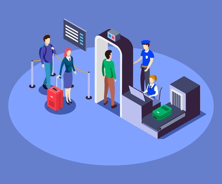 Airport security checkpoint isometric color vector illustration. Airline company safety measure 3d concept isolated on blue background. Passengers check with metal detector, luggage inspection. ZIP file contains: EPS, JPG. If you are interested in custom design or want to make some adjustments to purchase the product, don't hesitate to contact us! bsd@bsdartfactory.com