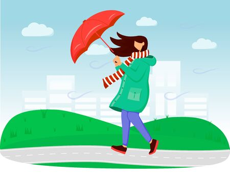 Woman in raincoat flat color vector illustration. Windy weather. Rainy day. Female with umbrella. Walking caucasian lady in scarf faceless cartoon characters with grass and sky on background. ZIP file contains: EPS, JPG. If you are interested in custom design or want to make some adjustments to purchase the product, don't hesitate to contact us! bsd@bsdartfactory.com