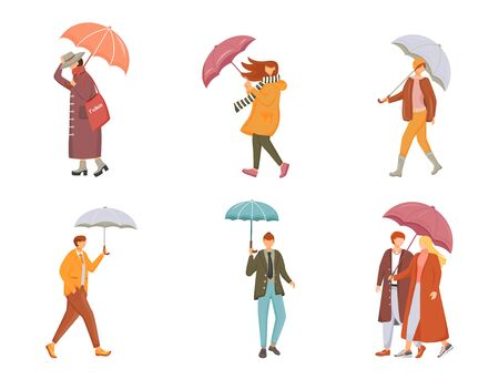 Walking people with umbrellas flat color vector faceless characters set. Rainy day. Wet weather. Caucasian humans. Men and women isolated cartoon illustrations on white background. ZIP file contains: EPS, JPG. If you are interested in custom design or want to make some adjustments to purchase the product, don't hesitate to contact us! bsd@bsdartfactory.com