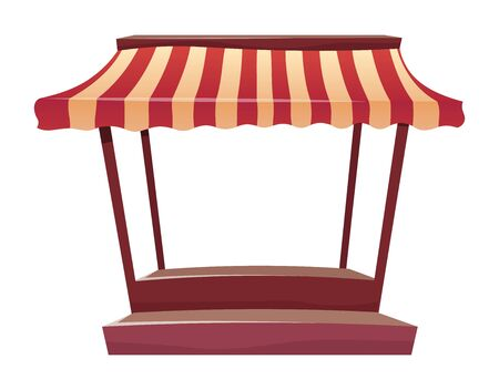 Empty street market awning cartoon vector illustration. Blank fair canopy, trade tent flat color object. Marketplace retail kiosk, outdoor local store equipment isolated on white background. ZIP file contains: EPS, JPG. If you are interested in custom design or want to make some adjustments to purchase the product, don't hesitate to contact us! bsd@bsdartfactory.com