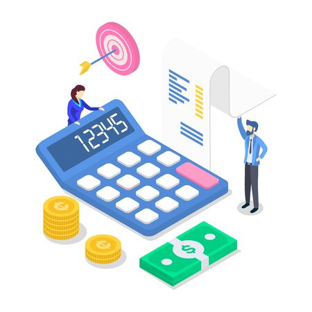 Revenue isometric color vector illustration. Annual financial report. Accounting and audit. People counting income. Investment. Business planning. Tax calculation. 3d concept isolated on white. ZIP file contains: EPS, JPG. If you are interested in custom design or want to make some adjustments to purchase the product, dont hesitate to contact us! bsd@bsdartfactory.com Stock Illustratie