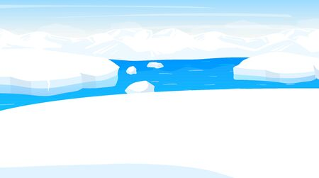 North pole flat vector illustration. Antarctic landscape. Northern sea with iceberg. Panoramic snowy land with ocean. Polar cold scene. Nordic surface. Frost fjord. Alaska. Arctic cartoon background. ZIP file contains: EPS, JPG. If you are interested in custom design or want to make some adjustments to purchase the product, don't hesitate to contact us! bsd@bsdartfactory.com