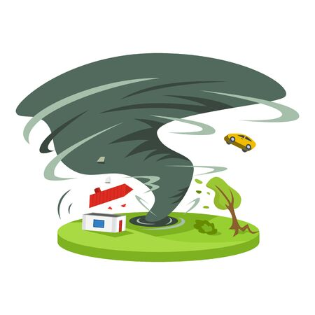 Hurricane in countryside cartoon vector illustration. Tropical cyclone. Thunderstorm. Violent tornado destroying house. Calamity. Destruction. Flat color natural disaster isolated on white background.