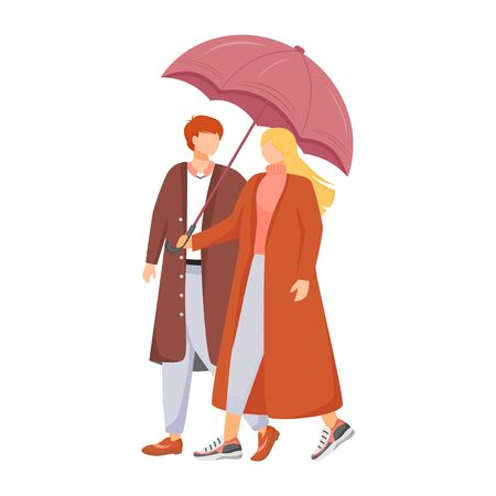 Couple flat color vector faceless characters. Rainy weather. Autumn wet day. Man and woman with umbrella. Walking family in coats isolated cartoon illustration on white background. ZIP file contains: EPS, JPG. If you are interested in custom design or want to make some adjustments to purchase the product, don't hesitate to contact us! bsd@bsdartfactory.com