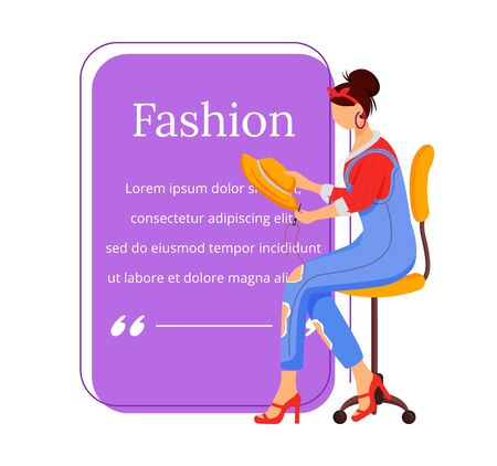 Fashion designer flat color vector character quote. Individual tailoring. Successful females. Creative people. Citation blank frame template. Speech bubble. Quotation empty text box design. ZIP file contains: EPS, JPG. If you are interested in custom design or want to make some adjustments to purchase the product, don't hesitate to contact us! bsd@bsdartfactory.com Illustration