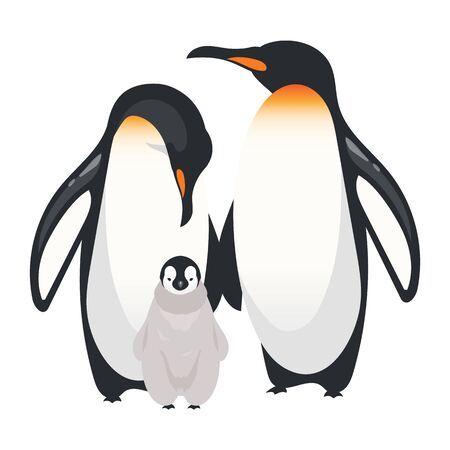 Emperor penguins flat color vector illustration. Flightless adult birds with chick. Antarctic marine breed species. Arctic creatures group isolated cartoon character on white background.