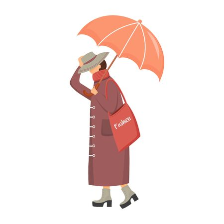 Woman in brown raincoat flat color vector faceless character. Walking caucasian lady. Rainy day. Fashionable madam on heels. Female with umbrella isolated cartoon illustration on white background. ZIP file contains: EPS, JPG. If you are interested in custom design or want to make some adjustments to purchase the product, don't hesitate to contact us! bsd@bsdartfactory.com