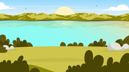Field view flat vector illustration. Sunrise in valley. Water stream. Scenic park opening with lake. Outdoor panoramic scene. Sunset on green hill. Green environment cartoon background. Illustration