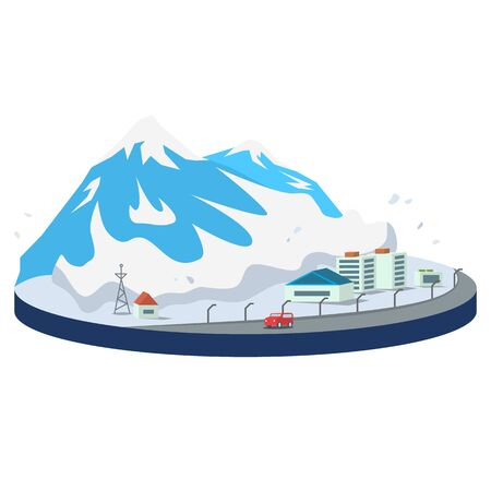 Avalanche in city cartoon vector illustration. Snow falling on mountainside. Snowslide, snow slip scene. Snowfall in mountains. Destructive phenomenon. Flat color natural disaster isolated on white. ZIP file contains: EPS, JPG. If you are interested in custom design or want to make some adjustments to purchase the product, don't hesitate to contact us! bsd@bsdartfactory.com Standard-Bild - 139089256