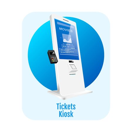 Tickets kiosk flat concept icon. Cinema electronic terminal sticker, clipart. Entertainment self service counter isolated cartoon illustration on white background. Digital self order board. ZIP file contains: EPS, JPG. If you are interested in custom design or want to make some adjustments to purchase the product, don't hesitate to contact us! bsd@bsdartfactory.com