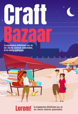 Craft bazaar poster flat color vector template. Turkish marketplace with handmade souvenirs. Brochure, cover, booklet one page design with cartoon characters. Advertising flyer, leaflet, newsletter. ZIP file contains: EPS, JPG. If you are interested in custom design or want to make some adjustments to purchase the product, don't hesitate to contact us! bsd@bsdartfactory.com 일러스트