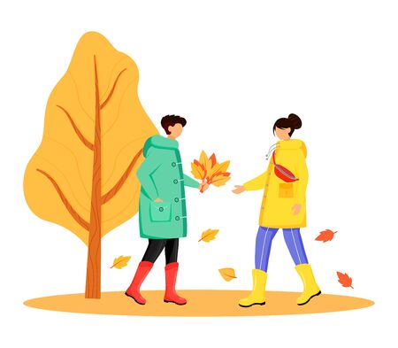 People in raincoats flat color vector faceless character. Walking caucasian couple in gumboots. Autumn nature. Rainy day. Male with lives in hand isolated cartoon illustration on white background. ZIP file contains: EPS, JPG. If you are interested in custom design or want to make some adjustments to purchase the product, don't hesitate to contact us! bsd@bsdartfactory.com Ilustração