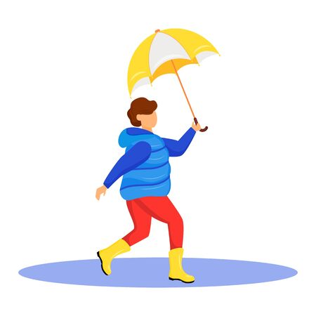 Boy in coat flat color vector faceless character. Running caucasian child in gumboots. Rainy weather. Autumn wet day. Kid with umbrella in hand isolated cartoon illustration on white background