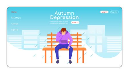 Autumn depression landing page flat color vector template. Seasonal melancholy homepage layout. Depressed guy in sweatshirt one page website interface with cartoon character. Wet weather web banner