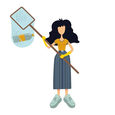 Zero waste flat cartoon vector illustration. Standing woman. Volunteer holds net with garbage. Ready to use 2d character template for commercial, animation, printing design. Isolated comic hero Illustration