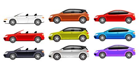Cars flat color vector objects set. Different personal transport 2D isolated cartoon illustrations on white background. Luxurious cabriolet, family hatchback and modern sedan in various colors Ilustracja