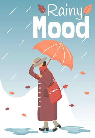 Rainy mood poster flat color vector template. Walking lady. Brochure, cover, booklet one page concept design with cartoon characters. Autumn nature. Advertising flyer, leaflet, banner, newsletter