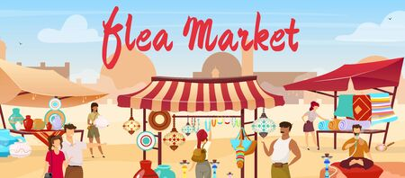 Flea market flat vector illustration. Arabic marketplace, Egypt, Istanbul traditional bazaar. Vendors selling souvenirs, carpets faceless cartoon characters with trade tents and mosque on background