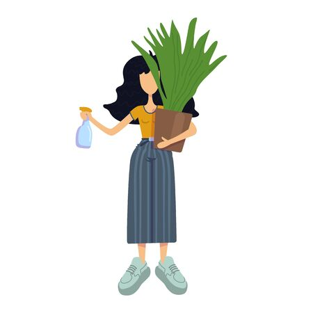 Zero waste flat cartoon vector illustration. Standing woman holds houseplant. Indoor flower caring. Ready to use 2d character template for commercial, animation, printing design. Isolated comic hero 向量圖像