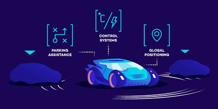 Driverless car functions flat color vector illustration. Smart control system, parking assistance and global positioning technology. Modern autonomous transport, futuristic vehicle on blue background