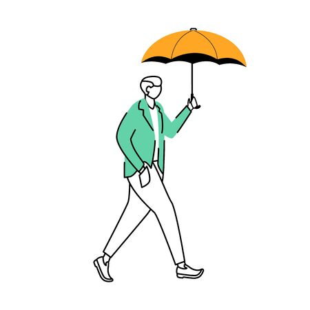 Man in jacket flat contour vector illustration. Rainy weather. Autumn wet day. Male with umbrella isolated cartoon outline character on white background. Walking guy simple drawing Stock Illustratie