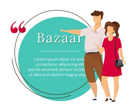 Bazaar buyers flat color vector character quote. Oriental market, fair, marketplace review. Citation blank frame template. Tourists, travelers with speech bubble. Quotation empty text box design