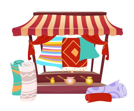 Bazaar trade awning with handmade carpets cartoon vector illustration. Eastern marketplace tent, canopy with souvenirs, persian rugs flat color object. Asian fair marquee isolated on white background