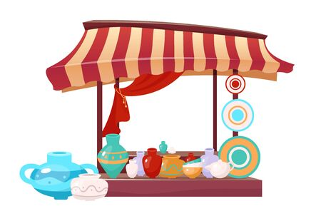Bazaar awning with handmade ceramics cartoon vector illustration. Eastern marketplace tent flat color object. Outdoor fair canopy with handcrafted earthenware, clay crockery isolated on white