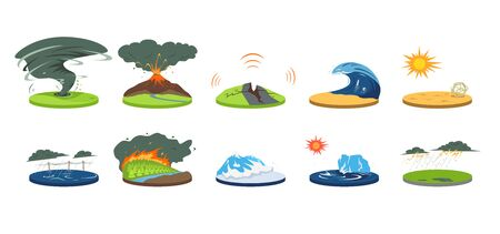 Natural disasters cartoon vector illustration set. Extreme weather conditions. Catastrophe, cataclysm. Flood, avalanche, hurricane. Earthquake, tsunami. Flat color calamities isolated on white