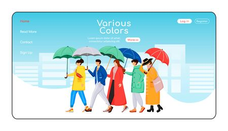 Various color umbrellas landing page flat color vector template. People in raincoats homepage layout. Rainy weather one page website interface with cartoon character. Walking crowd web banner, webpage