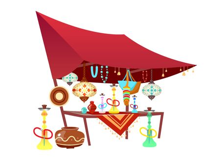 Eastern market tent with souvenirs cartoon vector illustration. Oriental bazaar awning with hookahs, handmade accessories flat color object. Egypt, Istanbul marketplace stall isolated on white